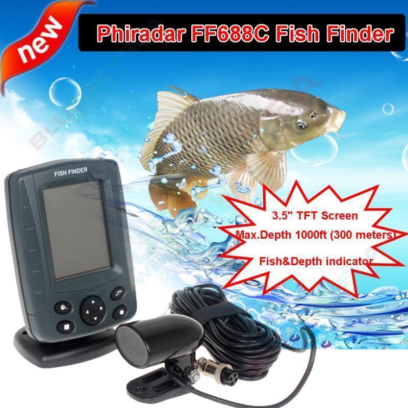 Free Shipping!Phiradar FF688C 3.5 Boat Fish Finder 200KHz/83KHz Dual Sonar Frequency 300M Detection Muti-language Auto zoom<br><br>Aliexpress
