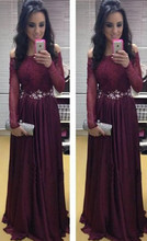 2016 New Designer Boat Neck Chiffon Crystal Beaded Long Evening Dress Sexy Off Shoulder Long Sleeve Prom Dresses