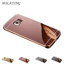 HOLAZING 2 in 1 Detachable Metal Aluminum Bumper Frame Case For Samsung Galaxy S6 Edge Plus G9280 With Mirror Back Hard Cover(China)