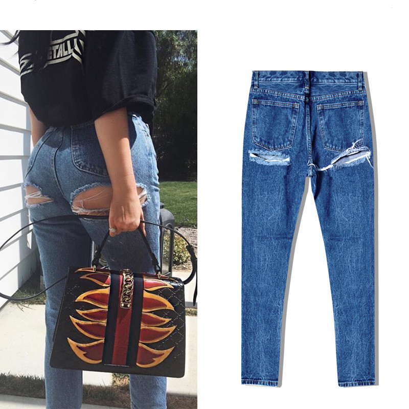 Super Sexy Bu Ripped Hole Jeans Slim Fit Women Jeans High Waist Exposed Hips Fashion Denim Women Boyfriend Skinny Jeans Femme (12)