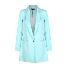 Womens Long Blazers Single Button Long Sleeve Power Shoulder Slim Casual Femme Mint Green Women Blazer Jackets Office Coat 2017(China)