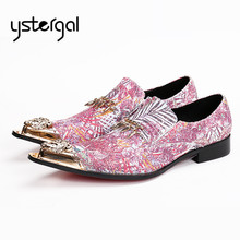 YSTERGAL Fashion Pink Paillette Metal Decor Mens Prom Dress Shoes Male Wedding Shoe Slip On Formal Flats Oxford Shoes for Men(China)