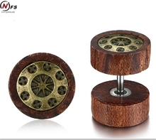 NFS Wood Car Wheel Design Stainless Steel Men Earrings Unique Wooden Stylish Male Jewelry Vintage Gold Punk Jewelry Drop Ship(China)