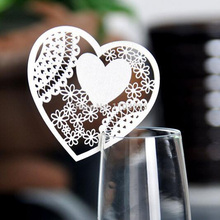 50pcs Laser Cut White Heart Wine Glass Paper Card Place Creation Escort Cup Card Wedding Christmas Party Birthday Decorations(China)