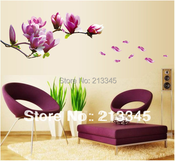 [Fundecor] fashion fresh magnolia home living room bedroom decorative flowers wall stickers high quality decals quotes(China (Mainland))