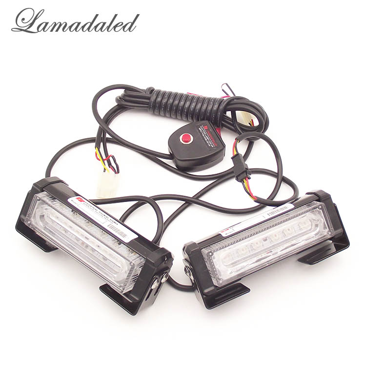 Lamadaled 2pcs 12cm led police vehicle strobe light bar car warning lights led emergency flash lamp RED BLUE WHITE AMBER<br>