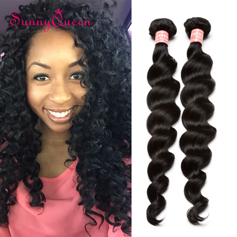Peruvian Virgin Hair Deep Loose Wave 2  Peruvian Hair Weave Bundles Sunny Queen Hair Products Curly Weave Human Hair Extensions<br><br>Aliexpress