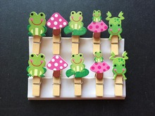 30pcs Green Frog Wooden Clips Bookmark Memo Clips Handmade Photo Picture Wooden Pegs for Wedding Party Souvenirs Gift Favors