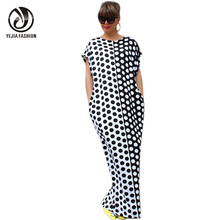 YEJIA FASHION Plus Size Boho Summer Dress Short Sleeve O-Neck Long Maxi Dresses Black White Polka Dot Printed Sexy Beach Dress