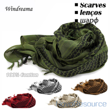 Windreama 100% Cotton Scarf Men Women Arab Muslim Military Hijab Scarves Bandana Cachecol High Quality Good Gift(China)