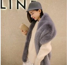 wide fur pashimina fake fur collar faux fox fur scarf raccoon fur shawl winter female fashion large shawl