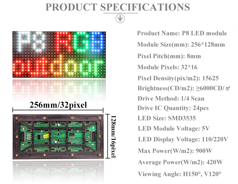 6 P8 Outdoor RGB Full color LED display module