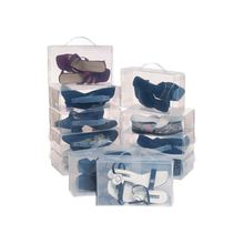 22 Ladies Mens Stackable Plastic Clear Shoe Box Boxes Storage Organiser Foldable- Transparent color