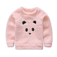 Winter Pink Furry Little Bear Tops For Baby Girl Kids Sweater Girls Coats Tops Children Outwear Clothes For Girl 2017(China)