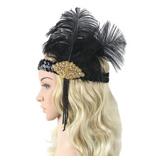 Retro Sequins Flapper Headband Gold Color Crystal Rhinestone 1920s Gatsby Feather Headpiece Accessory