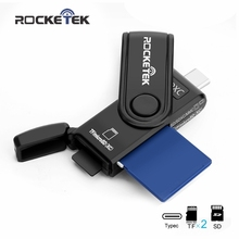 Rocketek Type-C Memory Card Reader adapter and OTG phone conector writer 3 Slots same time read 2 Card Type C for SD, micro SD