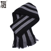 TIGER FORCE 2017 New Collection Men Fashion Scarf Winter Autumn Casual Long Striped Scarf Warm Winter Grey Scarf Free Shipping(China)