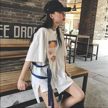 2017 summer new South Korea Harajuk BF wind casual printing side ribbons loose short sleeve T shirt tide(China)