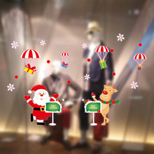 2017 New Product Christmas Cartoon Window Stickers Static Electricity Removable Home Room For Flat Window