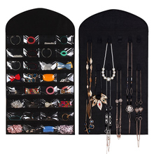 aboutbaby 32 Pockets 18 Hook Loops & Hanger Hanging Jewelry Organizer Holder Storage Bag Earrings Jewelry Display Pouch Makeup