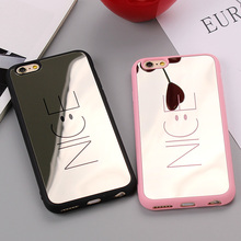 Fashion Cartoon Nice Letter Case For iphone 7 Plus Phone Cases Silicon Frame Back Cover Mirror Case For iPhone 6 6s Plus Fundas