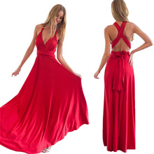 2017 Summer dress women multi way red maxi party dress sexy V-neck wrap around design robe longue sleeveless bandage vestidos(China)