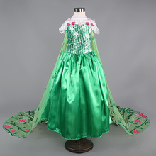 2017 Summer Girls Clothes Princess Baby Elsa Anna Dress Fever Cosplay Costume Children Fashion Green Snow Long Dress with Cover(China)