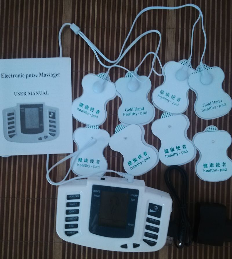 JR-309 Electronic pulse Stimulator Therapy Massager,Pulse tens Acupuncture +8 pcs Electrode pads+ AC adapter<br><br>Aliexpress