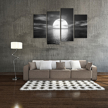 4 Pieces Modern Painting Bright Moon Seascape Black and White Painting Picture Print on Canvas Wall Art for Home Decoration