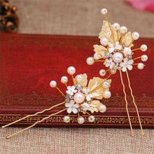 2 Pcs/set Gold Leaves Pearl Bridal Wededing Hair Pin For Women Wedding Jewelry Accessories Bride pageant Prom Hair Clip Pins