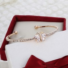 MINHIN New Arrival Romantic Butterfly Design Cuff Bracelet High Quality Golden Plated Wedding Bracelet Girl's Banquet Accessory(China)