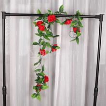 2x Artificial Rose Garland Silk Flower Wedding Home Garden Decor - Red