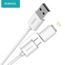 Romoss CB20 2 in 1 8 Pin to Micro USB Intelligent Sync Data Transfer Charging Cable for iPhone iPad Samsung Phone Table PCs 1M