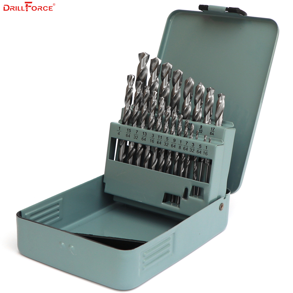 Drillforce 21PCS 1/16-3/8 HSS Twist Chrome Hand Drill Bit Wood Woodworking Tools Set for Stainless Metal Drilling Round Shank<br>