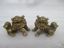 The ancient Chinese sculpture copper feng shui kirin a rich dog statues(China)