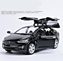 1:32 alloy pull back car toys, high imitation Tesla MODEL X90, 4 open door music &flash& toy vehicles, wholesale(China)