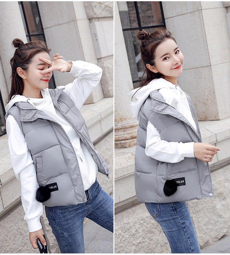 NIJIUDING M-XXXL 2018 New Parka Spring Autumn Slim Velvet Women Vest Jacket Warm Cotton-padded Winter Plus Size Waistcoat female (11)