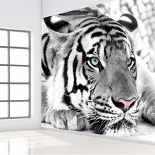 photo wallpaper Tiger black and white animal murals entrance bedroom living room sofa TV background wall mural wall paper(China)