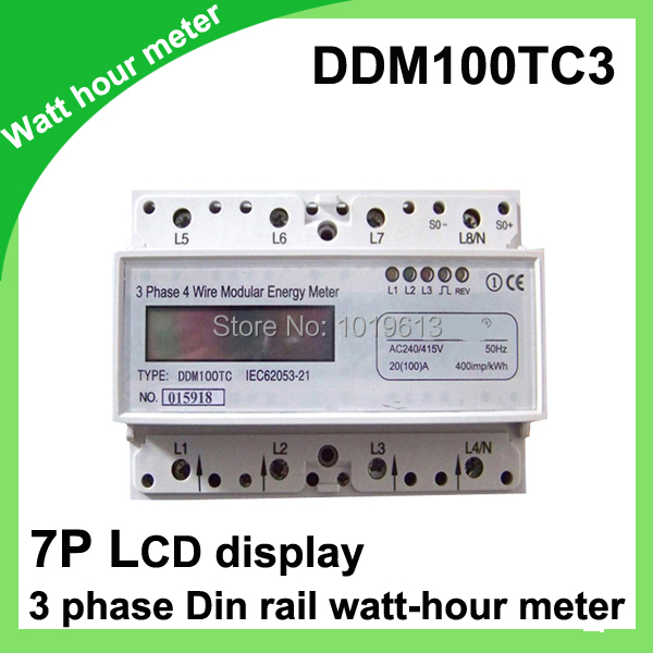 3-Phase Din Rail Mounted monitor meter LCD display Modbus Voltage Current<br>