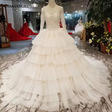 LSS305 fairy elegant wedding dresses O-neck long sleeves lace up back cake  style wedding gown more layer International designer 3feff7d60c9a