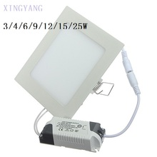 Dimmable LED Downlight 3W 4W 6W 9W 12W 15W Squre Ultrathin SMD 2835 Ceiling Panel Lights white / Warm White Free shipping(China)