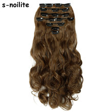 "S-noilite Synthetic Clip in remy Hair Extension Long Curly 24"" 170g 18 Clips False Synthetic Hairpieces(China)"