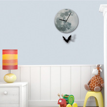 Funlife Exclusive  Bat Moon Pendulum Night Fashion Beautiful Glowing Clock wall clock for Decor