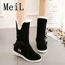 Women's boots Winter women's Fashion Suede In the Tube Bow Thickening Warm Flat Boots Snow Boots 2017 New(China)