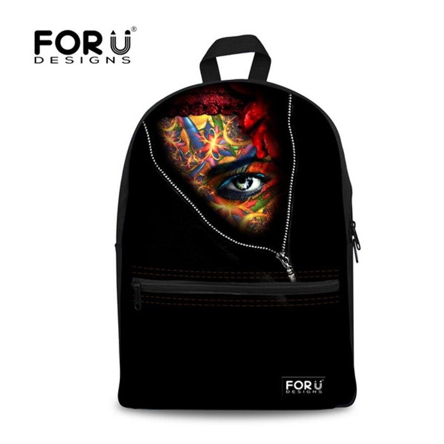 Brand Design Vintage Black Backpack 3D Masked Woman Printing Backpack School Bags for Teenager Girls bolsas mochilas femininas<br><br>Aliexpress