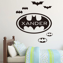 DCTOP Personalize Name Batman Wall Sticker Kids Bedroom Decor Self Adhesive Waterproof Wallpaper Wall Art Home Decoration(China)
