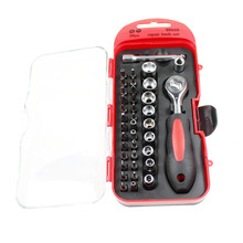 "38Pcs CR-V 1/4 ""Ratchet Socket Wrench Screwdriver Set Kit For Home Car Repair Multifunction Tools(China)"