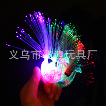 5pcs Christmas Gifts Colorful LED Ring Cartoon Peacock Ring  Finger Lamp Creative Children 's Glowing Color Ring Activity Gift