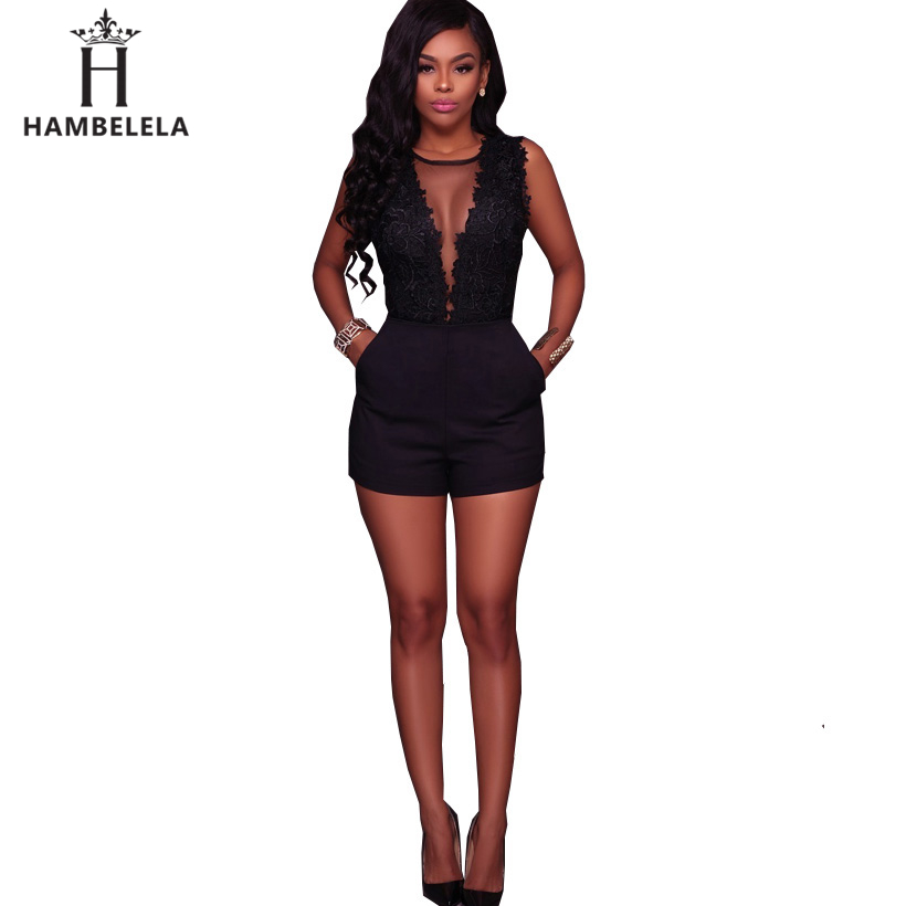 HAMBELELA Body Lace Summer Playsuit Bodycon Sleeveless Patchwork Sexy Bodysuit Feminino 2018 Women Romper Hollow Out Overalls (3)