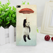 A0700 Panda Umbrella Transparent Hard Thin Skin Case Cover For Huawei P 6 7 8 9 Lite Plus Honor 6 7 4C 4X G7